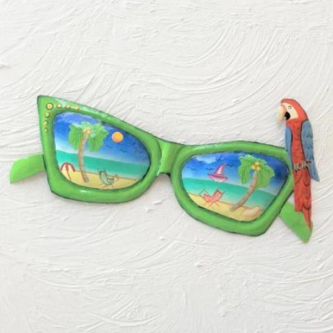 14in Green Metal Sunglasses with Parrot Wall Accent by Caribbean Rays