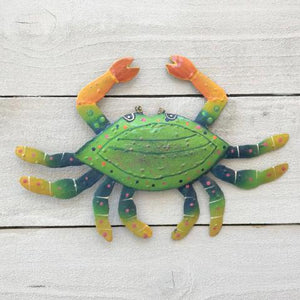Metal Green Crab Wall Decor by Caribbean Rays