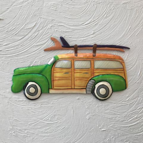 Metal Green Woody Beach Wagon wall decor by Caribbean Rays