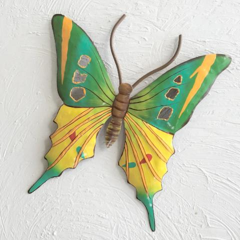 Metal Green and Yellow Butterfly Wall Decor by Caribbean Rays