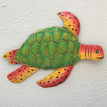 Metal Green & Orange Sea Turtle Wall Art by Caribbean Rays