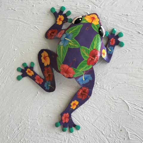 Metal Purple Hibiscus Frog Wall Decor by Caribbean Rays