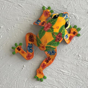 Metal Yellow Hibiscus Frog Wall Art by Caribbean Rays