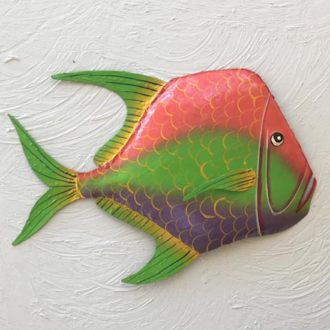 Metal Pink, Green and Purple Lookdown Fish Wall Art