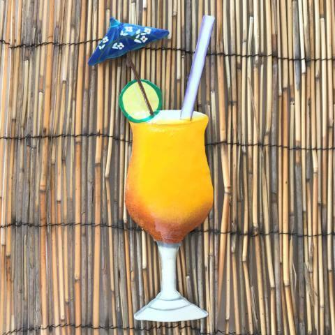 13in Mango Daiquiri Tropical Drink Metal Wall Decor by Caribbean Rays