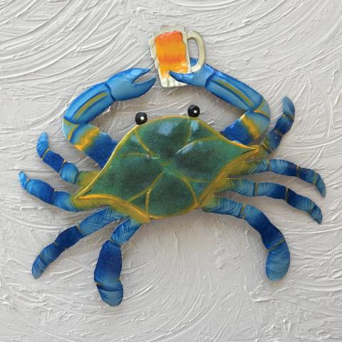 13in Metal Blue Crab with Beer Wall Decor