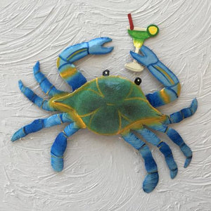 13in Metal Blue Crab with Margarita Wall Decor