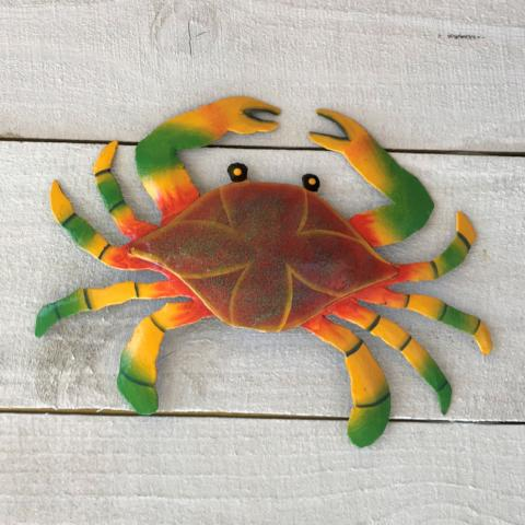 Red and Yellow Metal Maryland Crab Wall Decor by Caribbean Rays