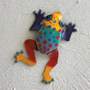 Multi Colored Spotted Dancing Frog Metal Wall Decor by Caribbean Rays