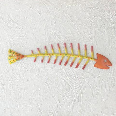 Orange Head Metal Fish Bones Wall Accent by Caribbean Rays