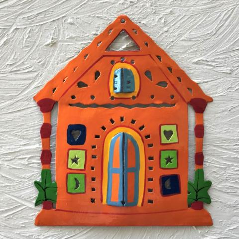 Metal Orange Ginger Bread House Wall Art by Caribbean Rays