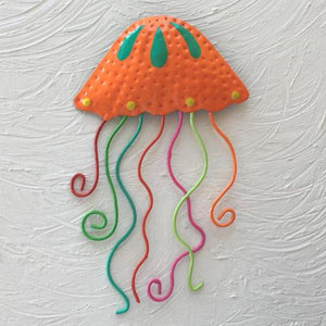Orange Metal Jellyfish Wall Decor by Caribbean Ray