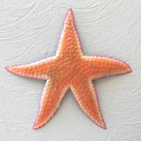 Metal Orange Starfish Wall Accent by Caribbean Rays