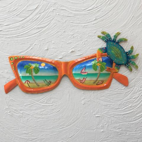 15in Orange Sunglasses with Teal Crab Wall Decor by Caribbean Rays