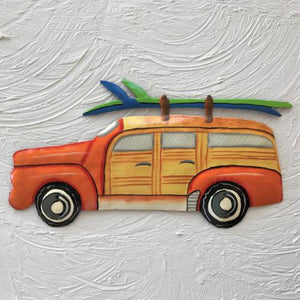 Metal Orange Woody Beach Wagon wall decor by Caribbean Rays