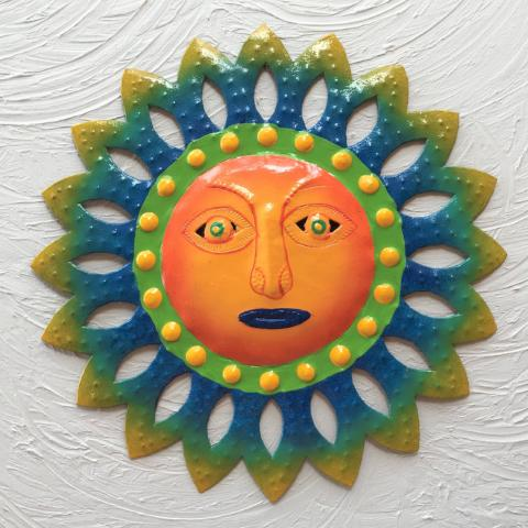 Metal Orange Face Island Sun Wall Decor by Caribbean Rays