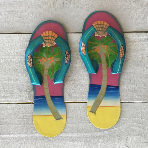 2pc 9in Pink and Aqua Palm Tree Flip Flop Metal Wall Decor by Caribbean Rays