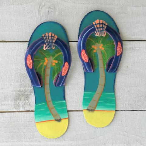 2pc Palm Tree Flip Flop Teal and Blue Metal Wall Decor by Caribbean Rays