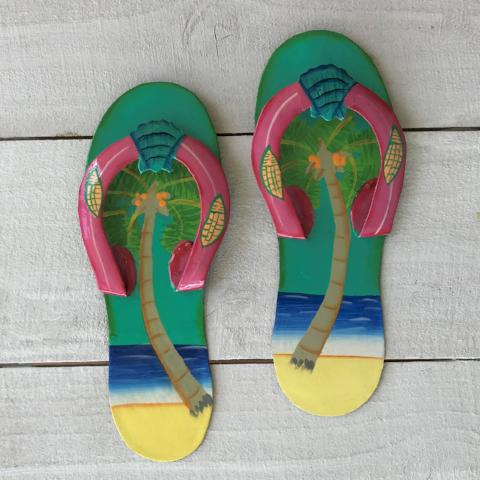 2pc 9in Aqua & Pink Palm Flip Flop Metal Wall Decor by Caribbean Rays