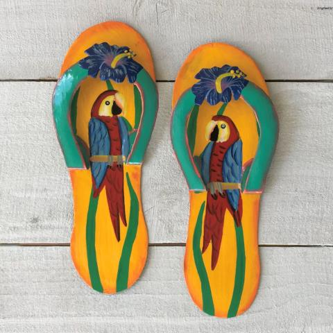2pc 9in Yellow & Blue Parrot Metal Flip Flops by Caribbean Rays
