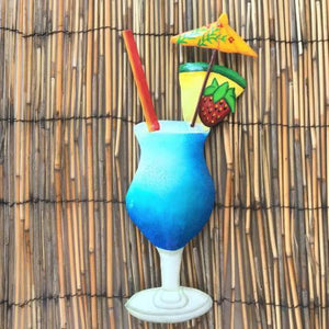 13in Pineapple Daiquiri Tropical Drink Metal Wall Accent by Caribbean Rays