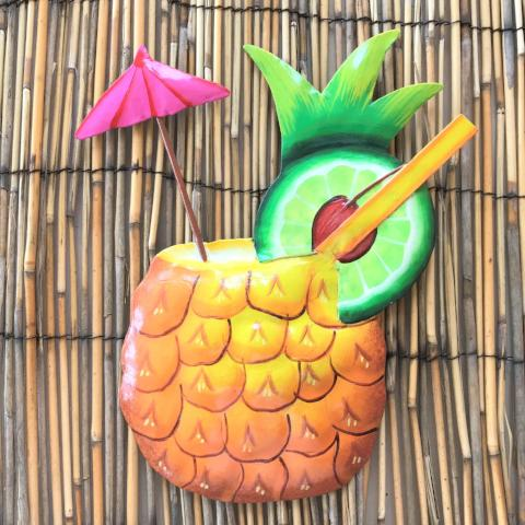 10in Pineapple Rum Tropical Drink Wall Decor by Caribbean Rays