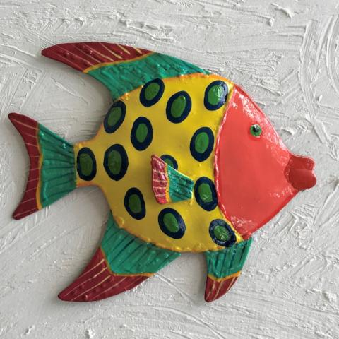Metal Pink Face Funky Angelfish Wall Art by Caribbean Rays