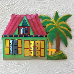 Metal Pink Roof Caribbean Beach Hut Wall Art by Caribbean Rays