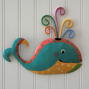 Whimsical Pink Teal and Yellow Whale Metal Wall Art by Caribbean Rays