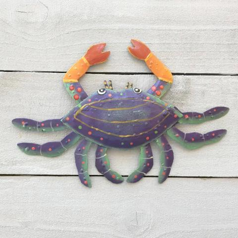 Metal Purple Crab Wall Decor by Caribbean Rays