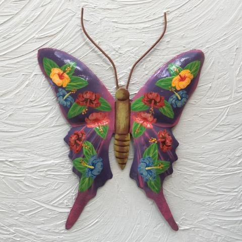 Metal Hibiscus Purple Butterfly Wall Decor by Caribbean Rays