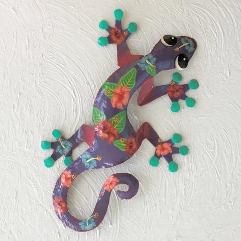 Malia Metal Hibiscus Gecko Wall Decor by Caribbean Rays