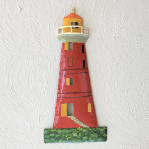 Metal Red Caribbean Lighthouse Wall Decor by Caribbean Rays