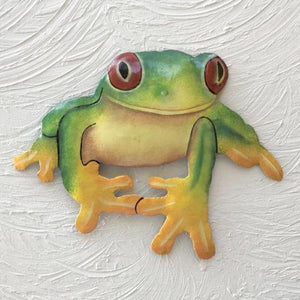 11in Red Eye Tree Frog Metal Wall Decor by Caribbean Rays