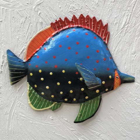 Red Fin Metal Fish Wall Decor by Caribbean Rays