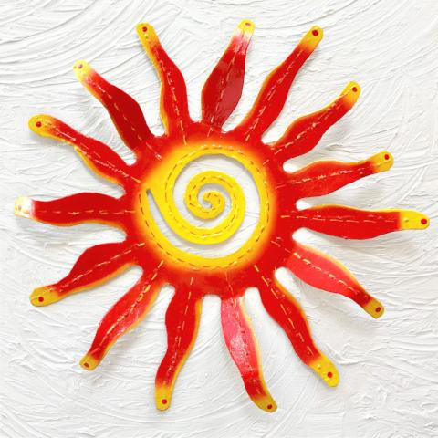 Red Metal Wavy Sun Wall Decor by Caribbean Rays