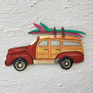 Metal Red Woody Beach Wagon wall decor by Caribbean Rays
