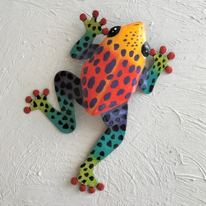 Metal Red and Yellow Dancing Frog Wall Decor by Caribbean Rays