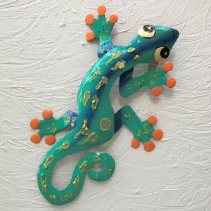 Teal Sculpted Gecko Wall Decor by Caribbean Rays