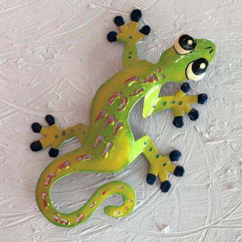 Yellow Sculpted Metal Gecko Wall Decor by Caribbean Rays