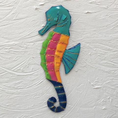 Metal Aqua Head Seahorse Wall Art by Caribbean Rays
