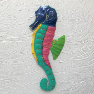 Metal Blue Head Seahorse Wall Art by Caribbean Rays