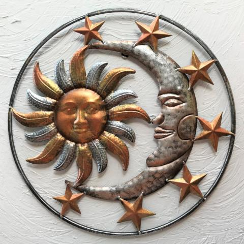 17in Metal Silver Bronze Sun Moon and Stars Wall Decor