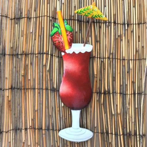 13in Metal Strawberry Daiquiri Tropical Drink Wall Decor by Caribbean Rays