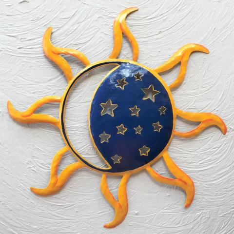 Metal  Blue Sun with Moon Cutout Wall Decor by Caribbean Rays
