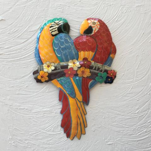 Metal Sweet Heart Parrots Wall Art by Caribbean Rays