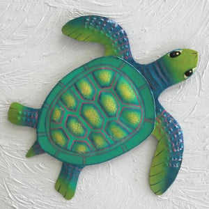 Metal Teal Baby Sea Turtle Wall Decor by Caribbean Rays