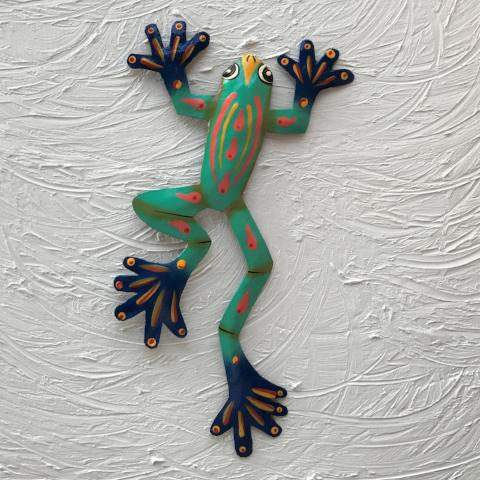 12in Teal Big Foot Frog Metal Wall Decor by Caribbean Rays