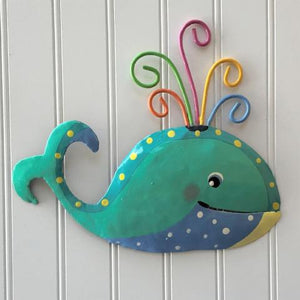 Whimsical Teal and Blue Whale Metal Wall Art by Caribbean Rays
