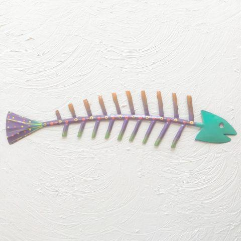 Teal Bare Bones Metal Fish Wall Art